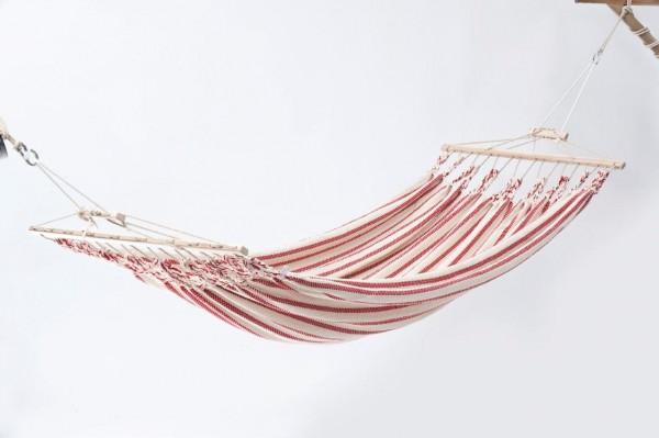 Doppelhängematte Baumwolle, weiss-rot, CHICO
