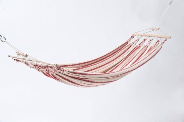 Einzelhängematte Baumwolle, weiss-rot, CHICO