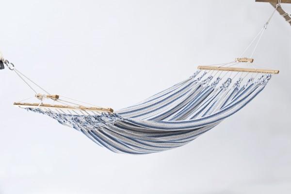 Doppelhängematte Synthetik, beige-blau, CHICO