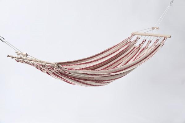 Doppelhängematte Baumwolle, beige-rot, CHICO
